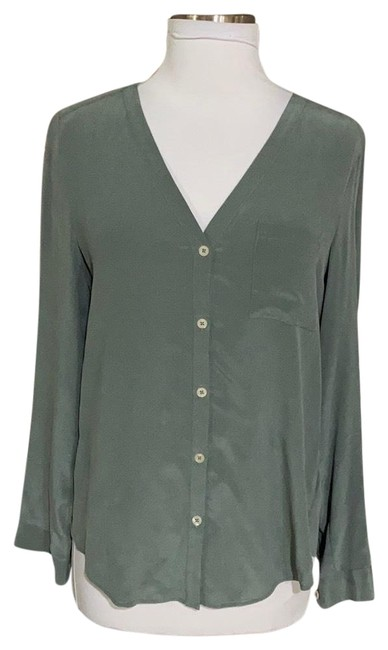 Item - Sage Silk V Neck Blouse Button-down Top Size 4 (S)