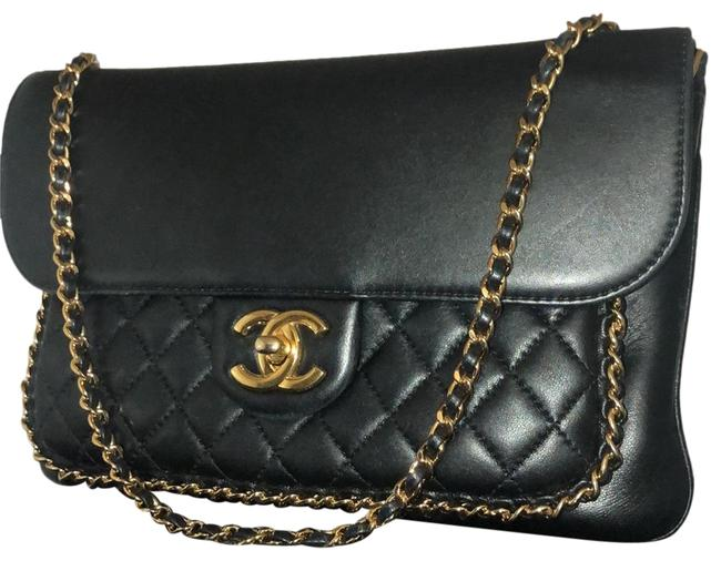 Item - Classic Flap 2017 Unchained Black and Gold Tone Leather Cross Body Bag