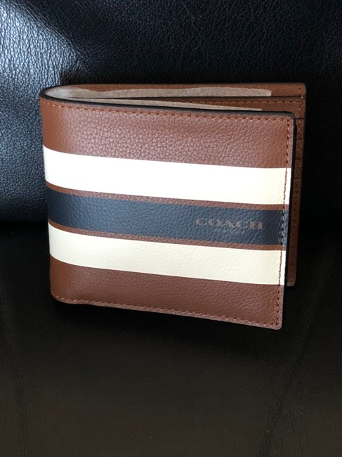 Item - Brown Bifold Stripped Leather Wallet New Without Tags Men's Jewelry/Accessory