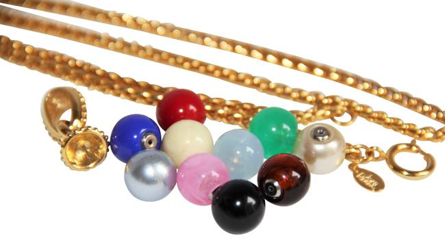 Item - Multi Color Gold Chain with 10-interchangeable Sphere Pendants Necklace