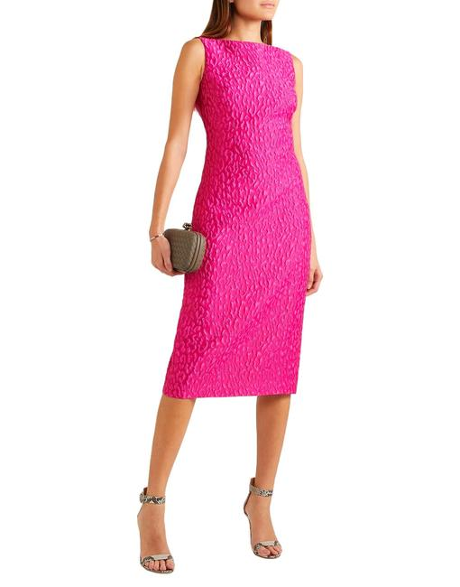 Item - Magenta Pink Leopard Texture Jacquard Long Night Out Dress Size 4 (S)