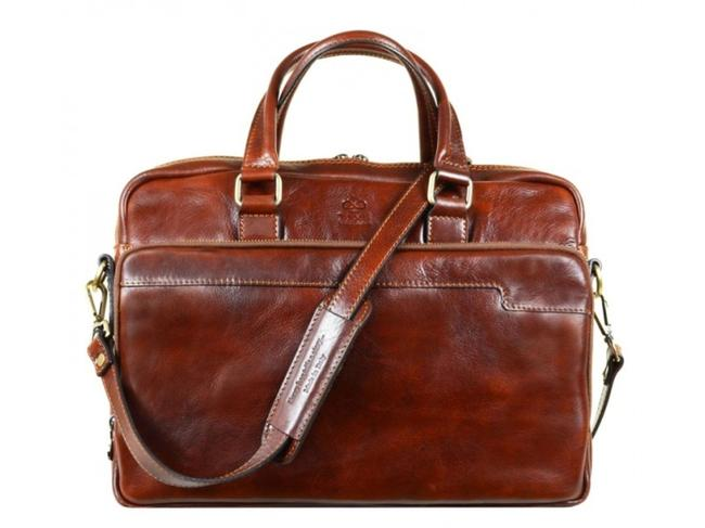 Item - Orlando Brown Cowhide Leather Laptop Bag