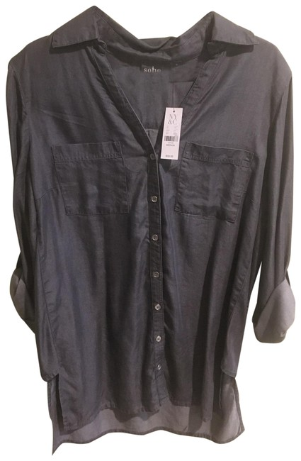 Item - Grey 0335 Button-down Top Size 10 (M)
