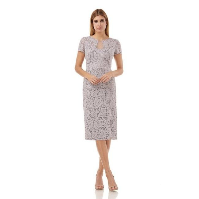 Item - Silver Panel Lace Mid-length Cocktail Dress Size 8 (M)