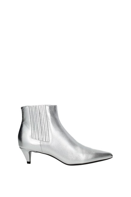 Item - Silver Ankle Women Boots/Booties Size EU 40.5 (Approx. US 10.5) Regular (M, B)