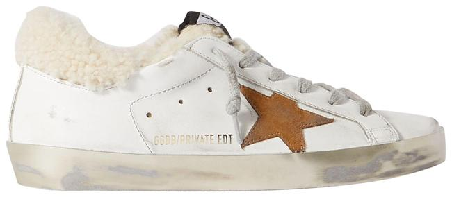 Item - White Superstar Distressed Leather Suede and Shearling Sneakers Size EU 38 (Approx. US 8) Regular (M, B)