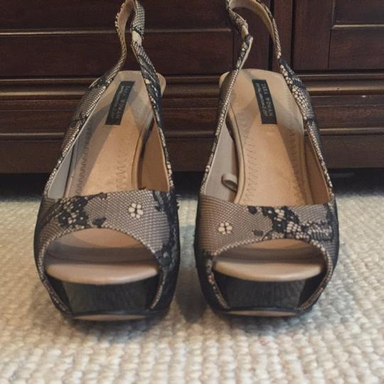 Zara Nude And Black Lace Sandals
