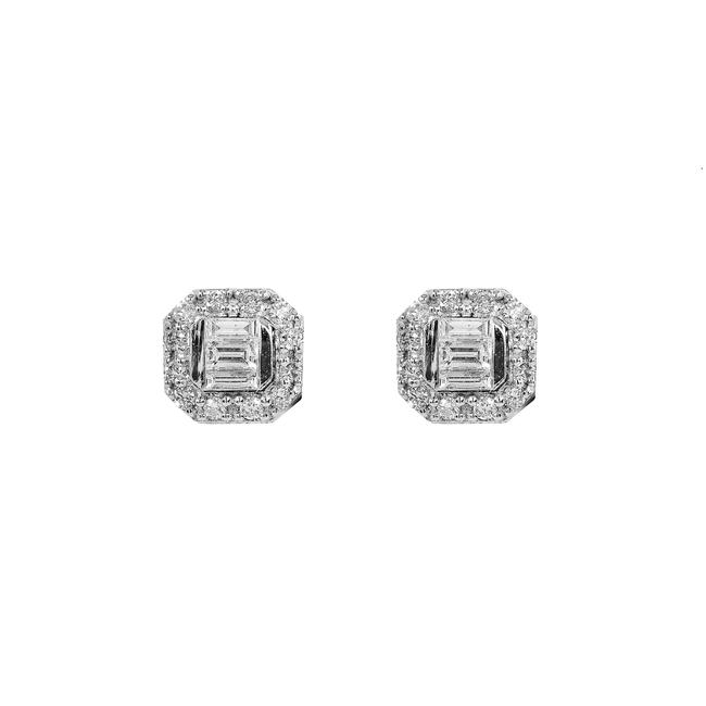 Item - White Gold 14k Unisex with 0.20 Baguette Ct Diamond Earrings