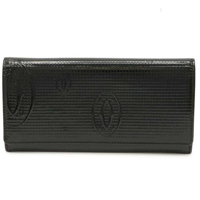 Item - Black Long Happy Birthday Folded Enamel Patent Leather L3000982 Wallet