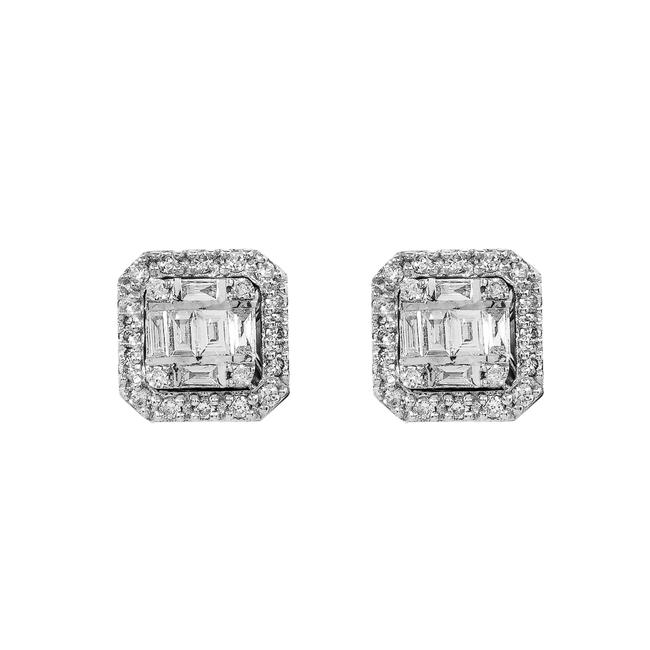 Item - White Gold 14k Unisex with 0.21 Baguette Ct Diamond Earrings