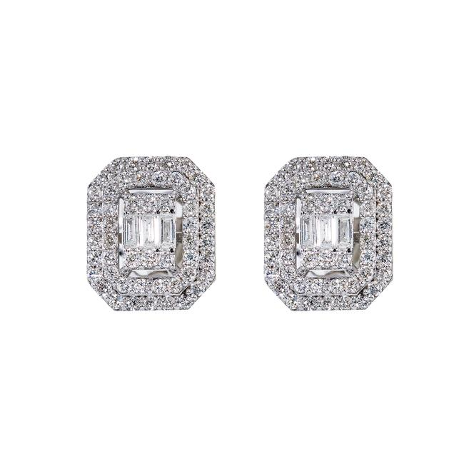 Item - White Gold 14k Unisex with 0.68 Baguette Ct Diamond Earrings