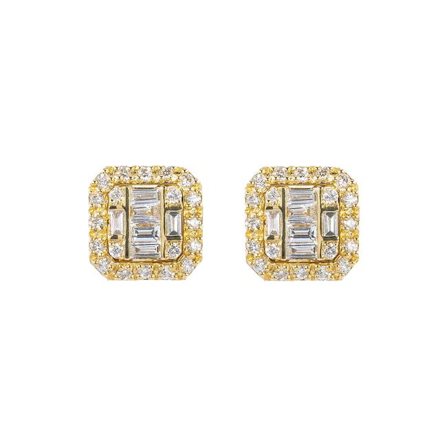 Item - Yellow Gold 14k Unisex with 0.21 Baguette Ct Diamond Earrings