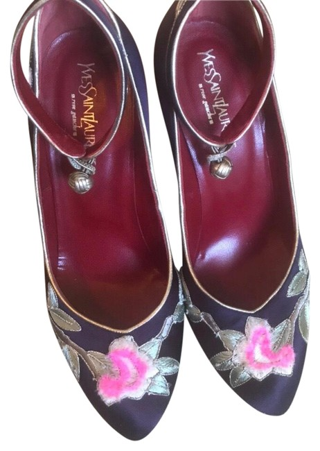 Item - Purple Ysl Embroidered Collection 2004 Wedges Size US 8 Regular (M, B)