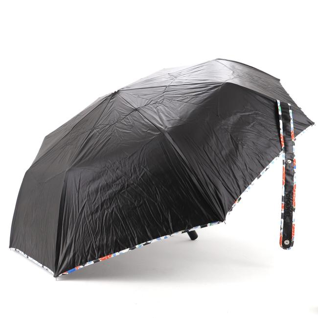 Item - Black Floral Trim Umbrella Nylon Compact