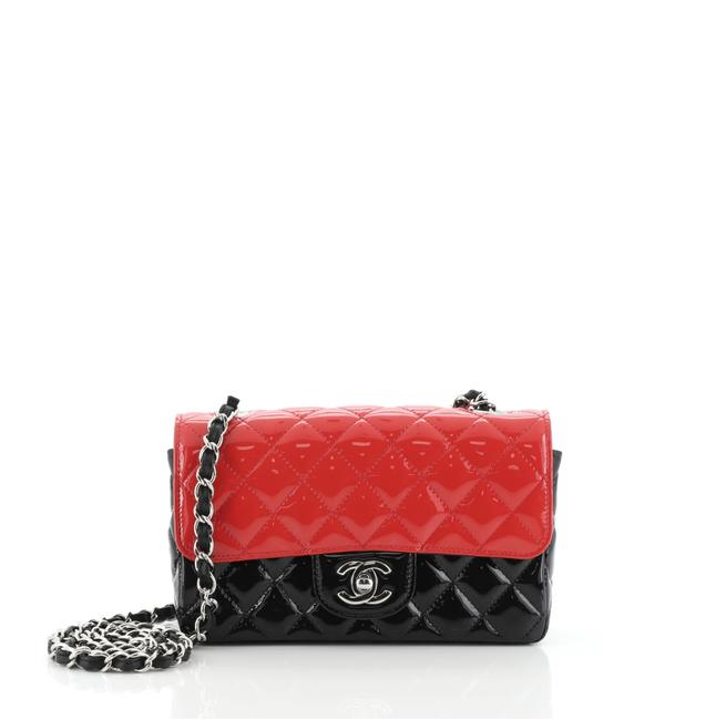 Item - Classic Flap Bicolor Classic Single Quilted Mini Black and Red Patent Leather Shoulder Bag