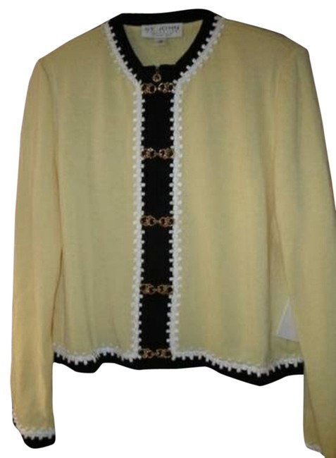 Preload https://item2.tradesy.com/images/st-john-light-yellow-and-black-with-white-ribbon-trim-womens-collection-santana-knit-jacket-sweaterp-2835016-0-0.jpg?width=400&height=650