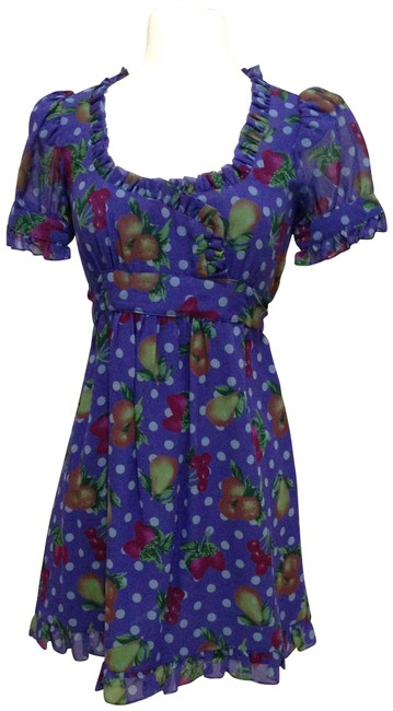 Item - Purple/ Red/ Multi Silk Floral with Ruffles Short Casual Dress Size 0 (XS)