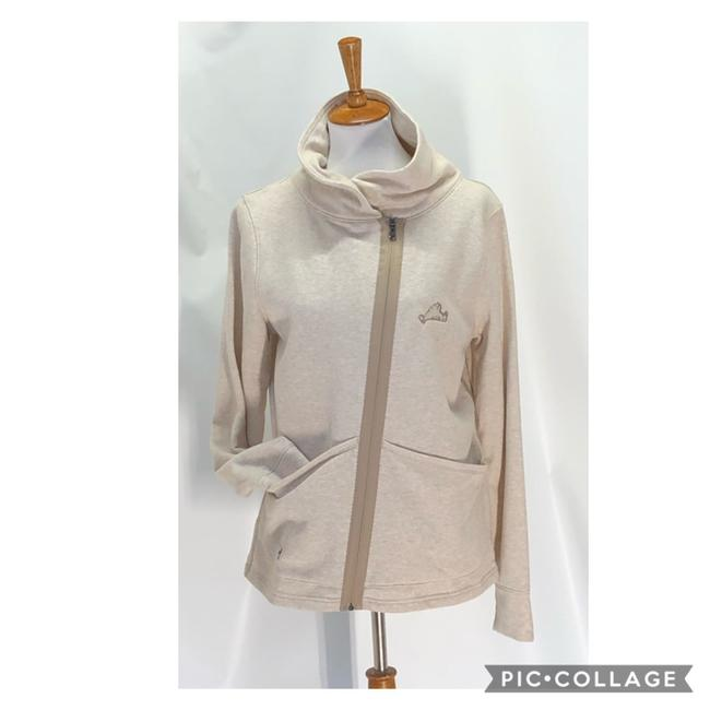 Item - Beige Zip Up Loose Fit Soft Cotton Jacket Activewear Size 10 (M)