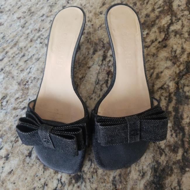 Item - Black Denim Fabric Vintage Sandal Mule Pumps Size EU 36.5 (Approx. US 6.5) Wide (C, D)
