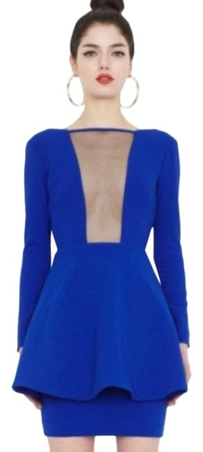 Item - Blue Plunge Mini Backless Mid-length Night Out Dress Size 4 (S)