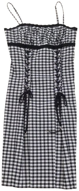 Item - Black/ White Gingham Lace Trim Short Casual Dress Size 0 (XS)