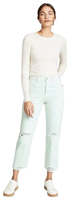 Item - Green Light Wash Wynne Spearmint High-rise Crop Ripped Knee New Pants Mint Relaxed Fit Jeans Size 29 (6, M)