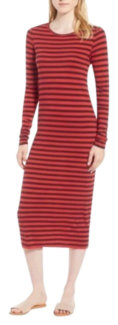 Item - Red  Breton Stripe Gray Mid-length Casual Maxi Dress Size 6 (S)
