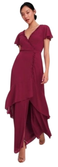 Item - Red Pour The Champagne Ruffled Burgundy Long Cocktail Dress Size 18 (XL, Plus 0x)