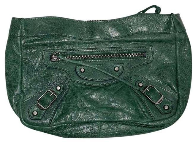Item - Kelly Moto Style Pouch Makeup Rare Green Lambskin Leather Clutch