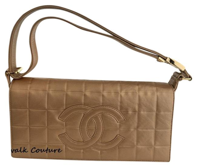 Item - Classic Flap Chocolate Bar Quilted Baguette Gold Lambskin Leather Shoulder Bag