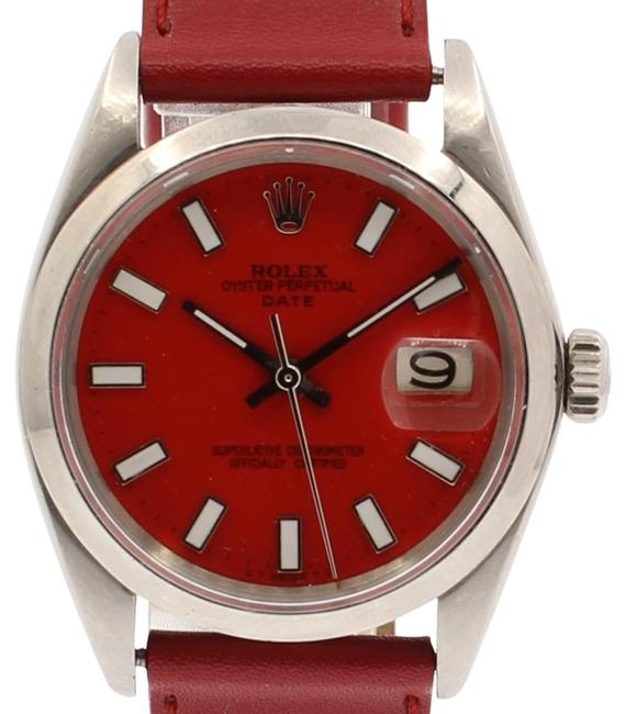 Item - Red Mens Vintage Oyster Perpetual Date 34mm Dial Stainless Steel Watch