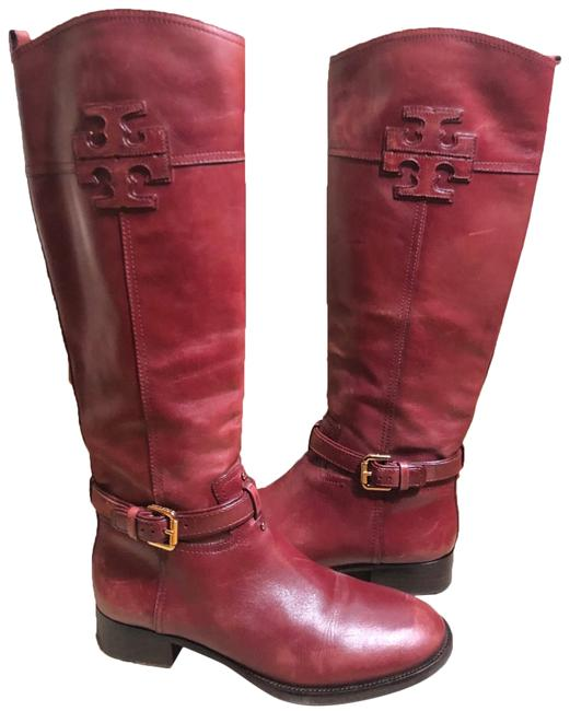 "Item - Reddish-wine 18"" Tall Leather Logo with 1.5"" Chunky Heel Boots/Booties Size US 9 Regular (M, B)"