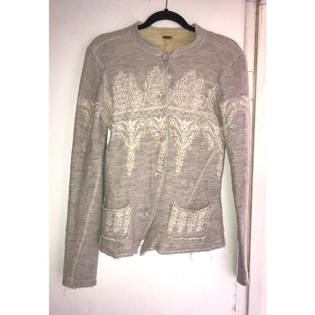 Item - Gray Sweater Wool Cotton Blend M Button-down Top Size 8 (M)