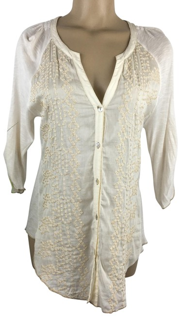 Item - Ivory Embroidered Blouse Size 8 (M)