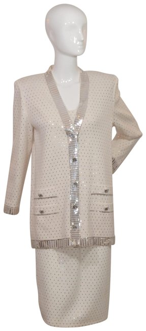 Item - White Swarovski Crystal Buttons Three Piece Pailetted Skirt Suit Size 6 (S)