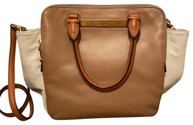 Item - Two Tone with Cross Body Strap Brown and Cream and Brass Hardware Leather Satchel