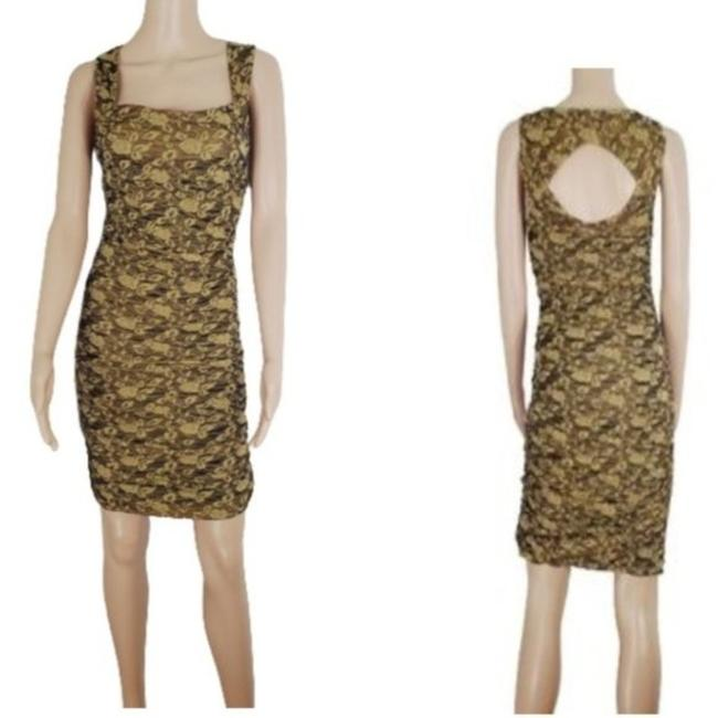 Item - Gold Tan Ruched Bodycon Open Short Night Out Dress Size 10 (M)