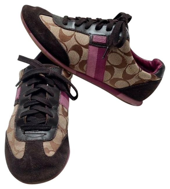 Item - Brown Signature Logo C Joss Purple Tan Low Top Lace Up Fashion Sneakers Size US 8 Regular (M, B)