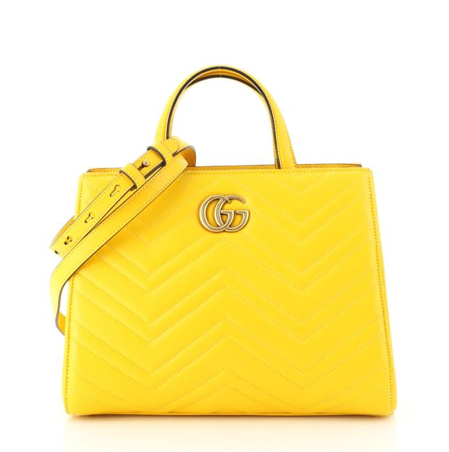 Item - GG Bag Marmont Matelasse Small Yellow Leather Tote