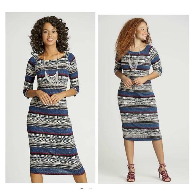 Item - Blue Stretch Rayon And Mid-length Casual Maxi Dress Size 14 (L)