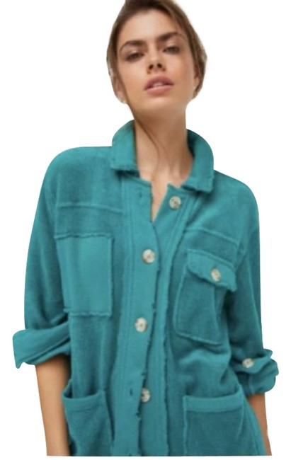 Item - Blue Green Teal Terry Teal Eryka Large Jacket Size 12 (L)