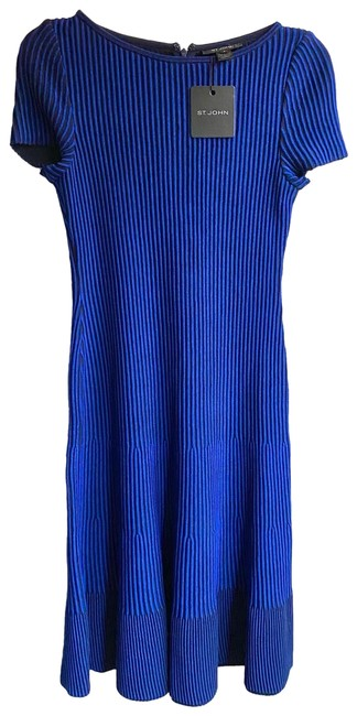 Item - Blue and Black Charlotte Knit Fit & Flare Mid-length Formal Dress Size 0 (XS)