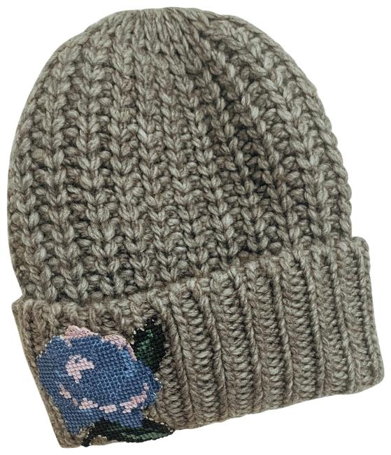 Item - Grey Everything Rosy Embroidery Beanie Hat