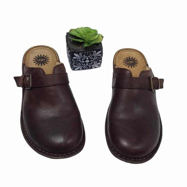 Item - Brown Livia Leather Mules/Slides Size US 9 Regular (M, B)