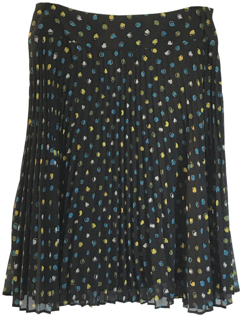 Item - Black Retro Polka Dot Pleated Skirt Size 12 (L, 32, 33)