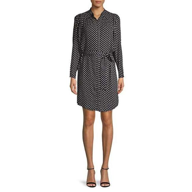 Item - Black White Myune Printed Belted Button-front Shirtdress In Caviar M Short Work/Office Dress Size 8 (M)