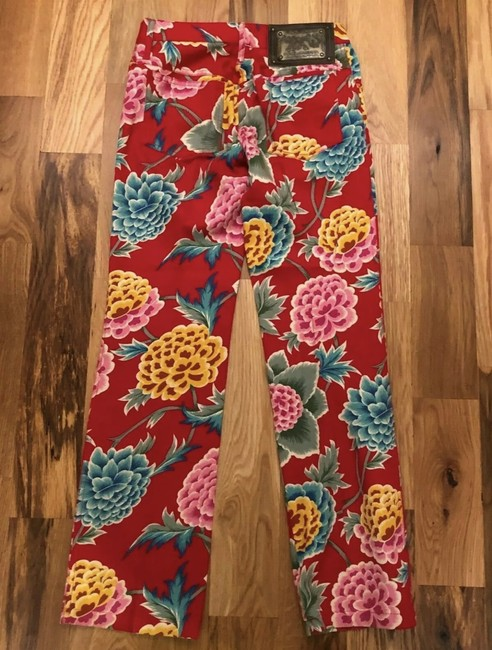 Item - Red/Multi Medium Wash D&g Florals Straight Leg Jeans Size 28 (4, S)