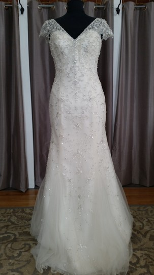 Maggie Sottero Ivory Over Light Gold/Silver Accents Beaded Tulle Doris - 5mt129 Feminine Dress Size 8 (M)
