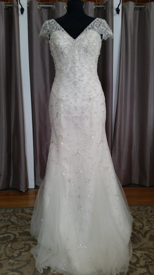 Maggie Sottero Ivory Over Light Gold Silver Accents Beaded Tulle 5mt129 Feminine Wedding Dress Size