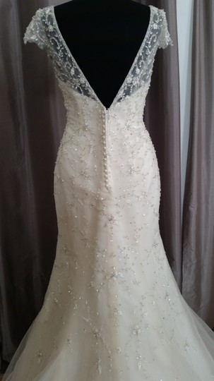 Maggie Sottero Ivory Over Light Gold/Silver Accents Beaded Tulle Doris - 5mt129 Feminine Wedding Dress Size 8 (M)